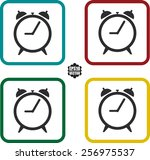 time and black clock icons set...