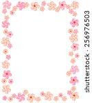 colorful spring flowers border  ... | Shutterstock .eps vector #256976503