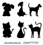 cats and dogs silhouette black...