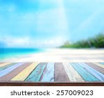table top and blur nature of... | Shutterstock . vector #257009023