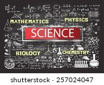 hand drawn science on... | Shutterstock .eps vector #257024047
