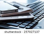 close up of workplace in office | Shutterstock . vector #257027137