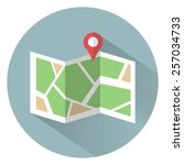 flat colored location icon with ... | Shutterstock .eps vector #257034733