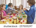 multi colored eggs painted by... | Shutterstock . vector #257035297