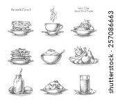 food and drinks set. breakfast... | Shutterstock .eps vector #257086663