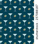 martini and olive pattern over... | Shutterstock .eps vector #257088187