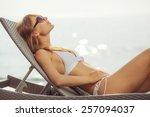 woman on the beach near the sea.