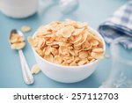 corn cereals in a white bowl   Shutterstock . vector #257112703