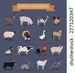 set of farm animals icons. flat ... | Shutterstock .eps vector #257120347