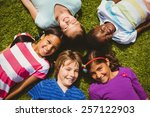 high angle portrait of children ... | Shutterstock . vector #257122903