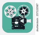 cool retro movie projector... | Shutterstock .eps vector #257123587