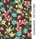 floral seamless pattern with... | Shutterstock .eps vector #257127283