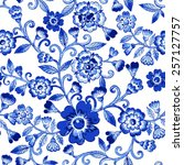 vector floral watercolor... | Shutterstock .eps vector #257127757