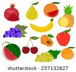 collection of fruits flat... | Shutterstock .eps vector #257132827