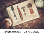 shaving accessories on a luxury ... | Shutterstock . vector #257133037