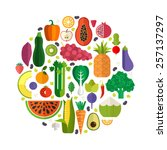 vector collection of fresh... | Shutterstock .eps vector #257137297