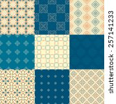 set of nine vector seamless... | Shutterstock .eps vector #257141233