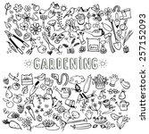 hand drawn doodle garden icons  ... | Shutterstock .eps vector #257152093
