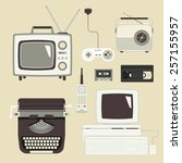 retro devices collection of tv  ... | Shutterstock . vector #257155957