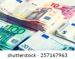 several hundred euro  banknotes ... | Shutterstock . vector #257167963