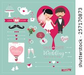 set of wedding ornaments and... | Shutterstock .eps vector #257170873