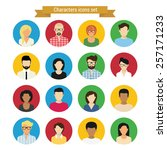 characters round icons set of... | Shutterstock . vector #257171233