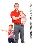 father with two sons  studio... | Shutterstock . vector #257171773