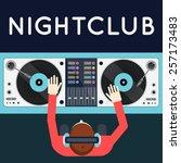 dj playing vinyl. top view of... | Shutterstock .eps vector #257173483