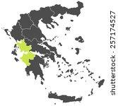 map of greece green yellow | Shutterstock .eps vector #257174527