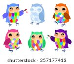 set of funny happy owls ... | Shutterstock .eps vector #257177413