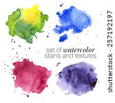 colorful watercolor stains and... | Shutterstock .eps vector #257192197