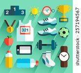 marathon item   flat icon set | Shutterstock .eps vector #257194567