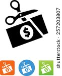 scissors cutting money symbol... | Shutterstock .eps vector #257203807