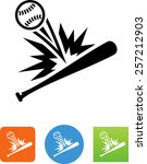 baseball and bat icon | Shutterstock .eps vector #257212903