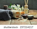 bath soaps with pads  candles... | Shutterstock . vector #257214217