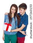 valentine gift. happy young...   Shutterstock . vector #257263153