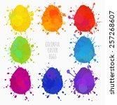 set of colorful eggs for easter ...   Shutterstock .eps vector #257268607