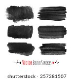 black hand drawn brush strokes. ... | Shutterstock .eps vector #257281507