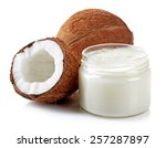 coconut oil and fresh coconuts... | Shutterstock . vector #257287897