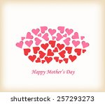 lips made of hearts mothers day | Shutterstock .eps vector #257293273