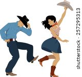 Cowboy And Cowgirl Dancing...