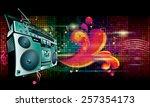 vector boom box on bright...   Shutterstock .eps vector #257354173