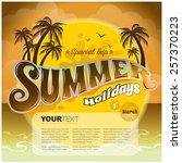 vector summer holiday   sunset  | Shutterstock .eps vector #257370223
