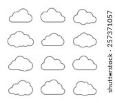 Vector illustration of clouds collection. Thin lines icons. | Shutterstock vector #257371057