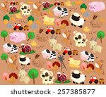 farm animal background | Shutterstock .eps vector #257385877