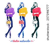 fashion model with bag ... | Shutterstock .eps vector #257398777