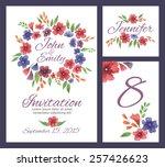 wedding set with watercolor... | Shutterstock .eps vector #257426623