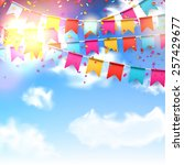 celebrate banner. party flags... | Shutterstock .eps vector #257429677