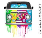 hippie van dripping rainbow... | Shutterstock .eps vector #257434417