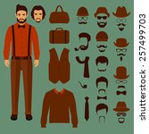hipster vector character ... | Shutterstock .eps vector #257499703